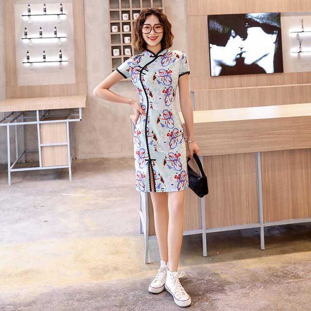 チャイナ風ドレス ショートワンピース 大きいサイズ S M L LL 3L パーティー 二次会 入園式 卒業式 プレゼント レトロ スタンドネック 半袖 スリット プリント 花柄