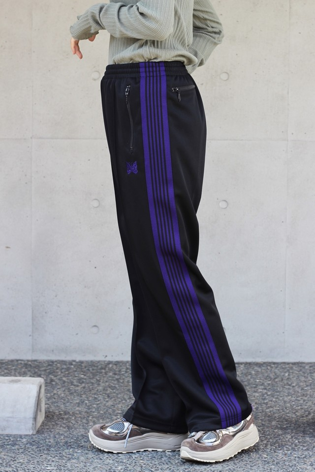 【Needles】track pants poly smooth-black
