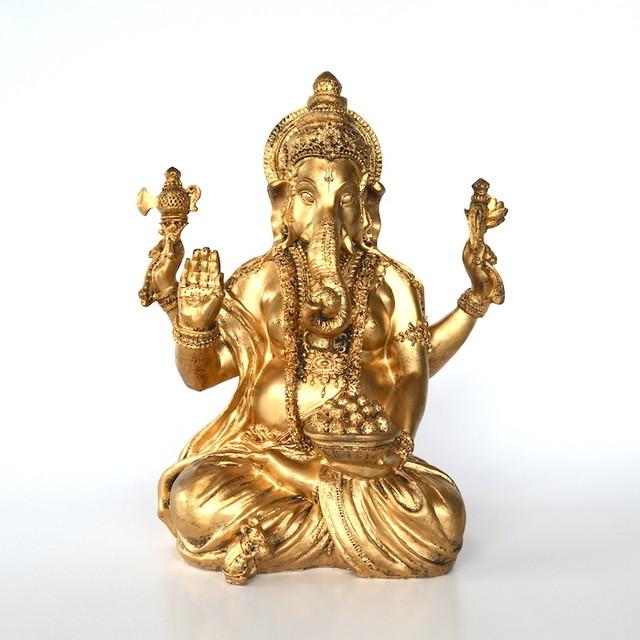 ガネーシャ 縁起物 ゴールド T17114 座像 インド ヒンドゥー教 神 置き物 オブジェ ガネーシャ像 インテリア おしゃれ