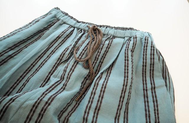 <<add colour>>striped wide trousers