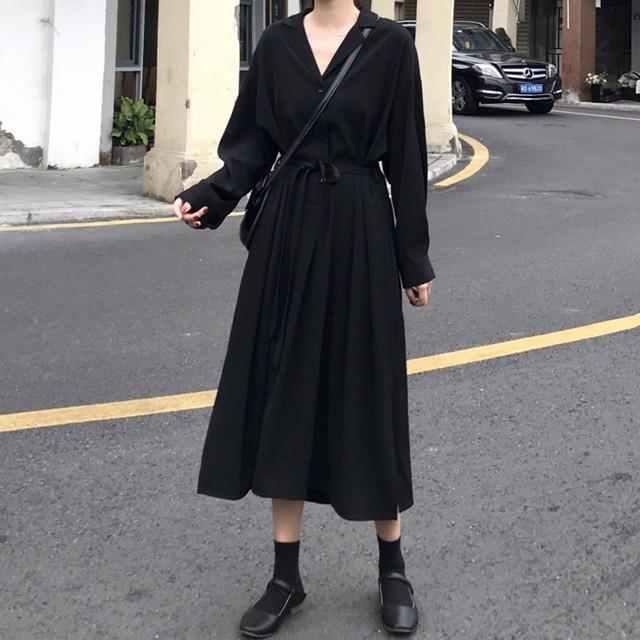 【dress】vネックシンプル感じゆるっと感じワンピース