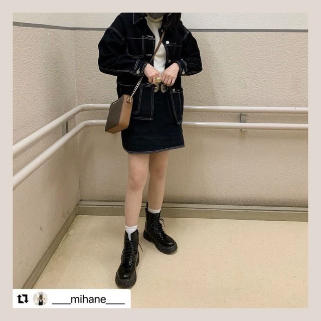 【即納】【送料無料】 今っぽデニムコーデ上下2点セット ♡ ジャケット × ミニスカート カラー デニム カジュアル セットアップ ブラック M
