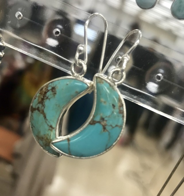 Turquoise Crescent Moon earings