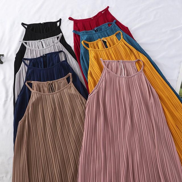 【ワンピース】絶対可愛い ファッション シンプル 無地 ノースリーブ カジュアルワンピース44420477