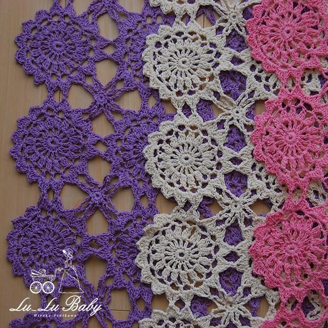 鮮やかカラーのかぎ編みブランケット、長方形タイプ