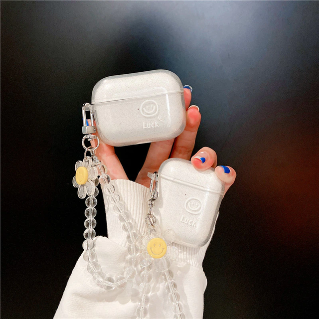 Clear flower chain airpods case
