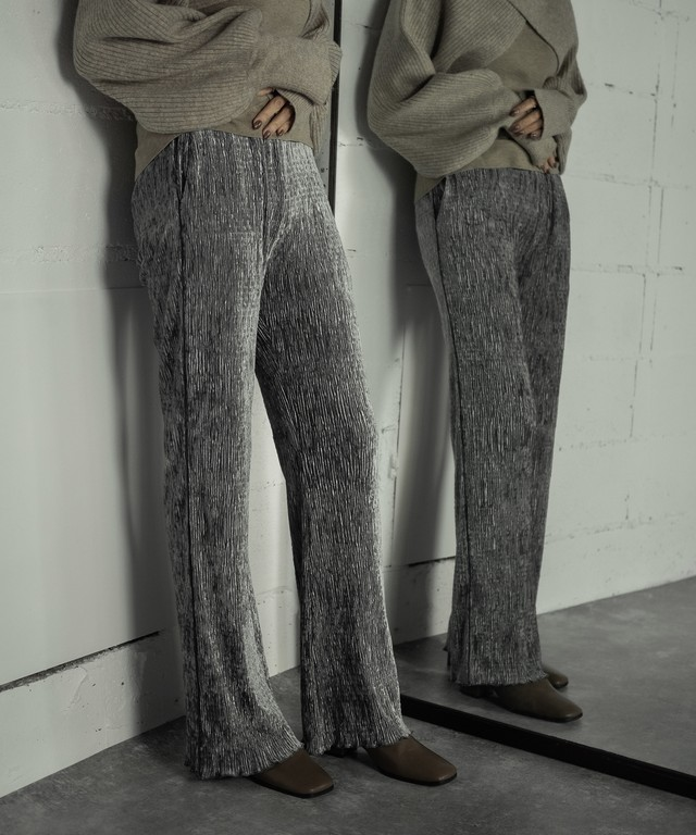 VELOR PLEATS PANTS  (GRAY)
