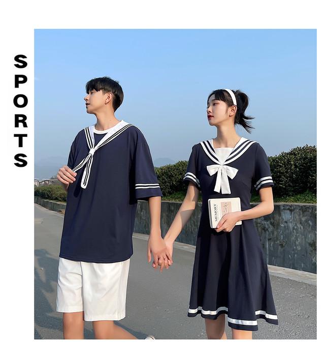セーラー ワンピース 0926 メンズセーラーシャツ カップル ペアルック リンクコーデ カジュアル お揃い デート セーラー服