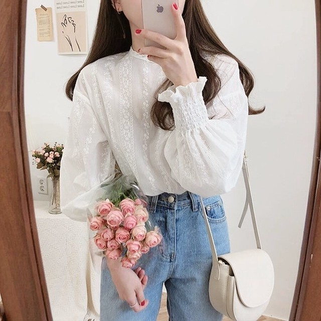 no collar lace blouse