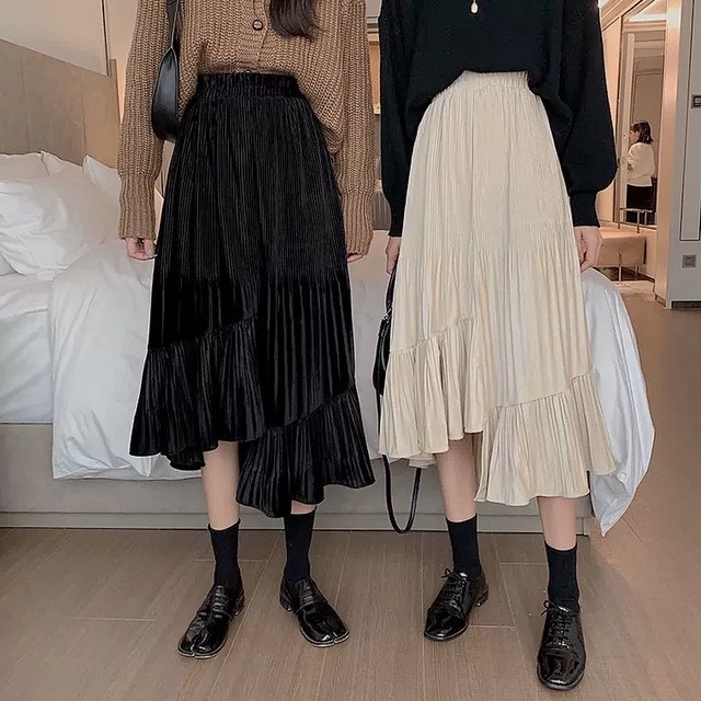 A line long frill skirt 2color