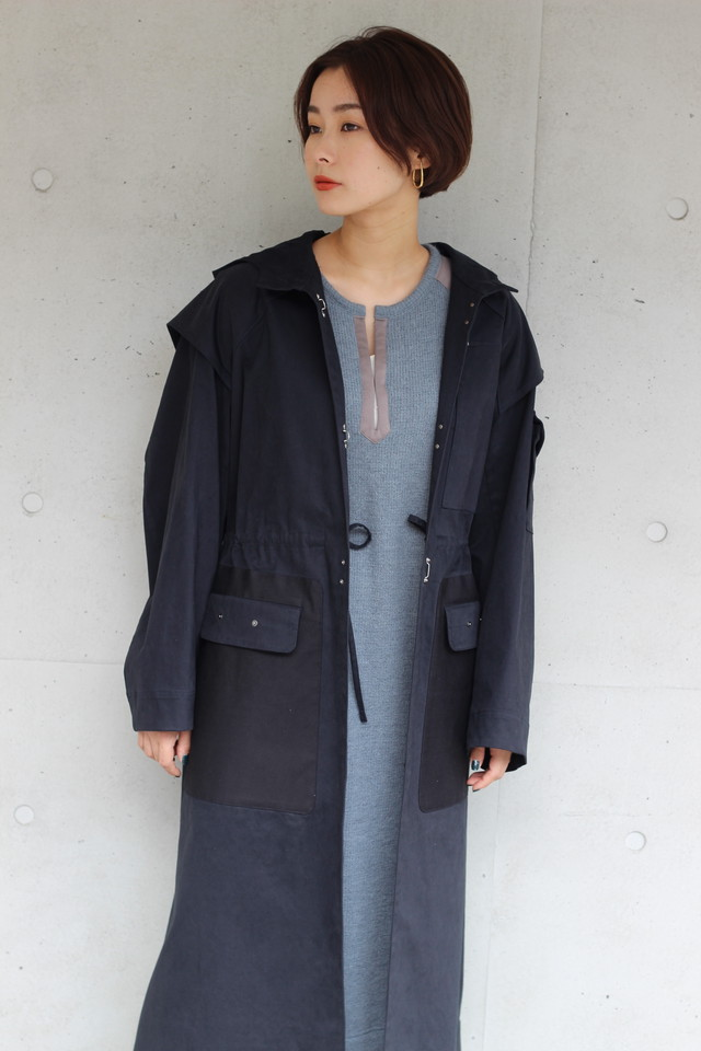 【KOTONA】hood long coat-navy