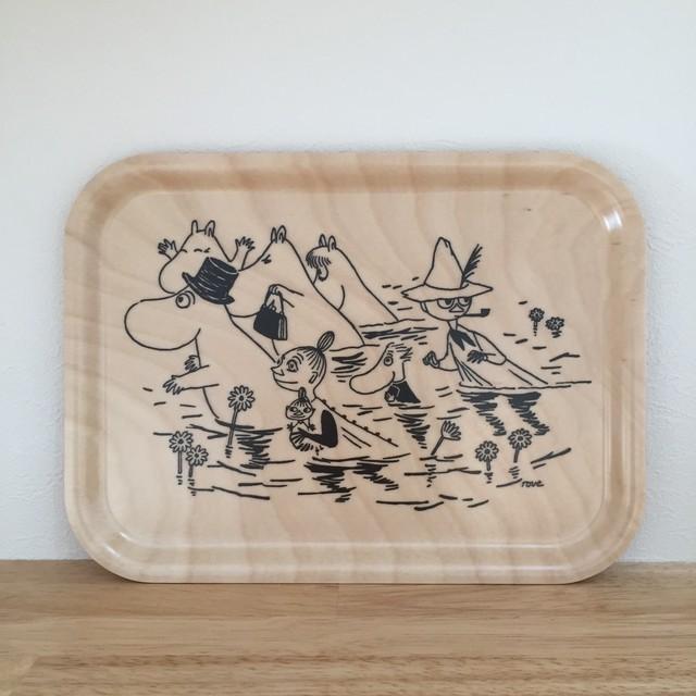 最終入荷【ムーミン】白樺トレイ MOOMIN WALKING IN WATER ナチュラルウッド 送料無料