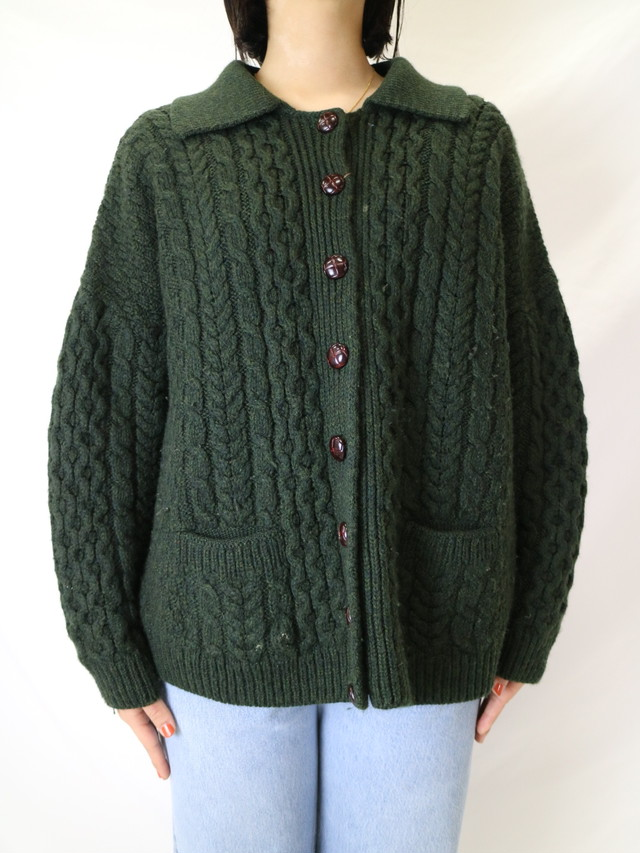 fisherman knit cardigan【0618】