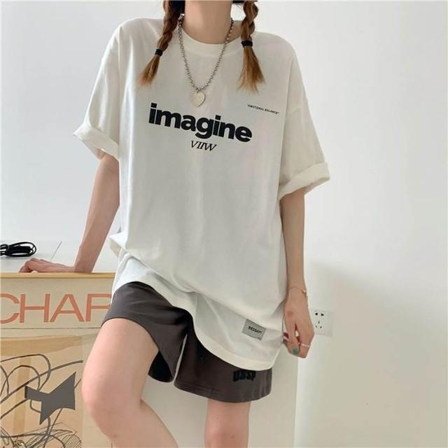 【送料無料】メンズライク!オーバーサイズT♡トップス ビックT ロゴ  トレンド 今っぽ Tシャツ カジュアル 着回し メンズライク