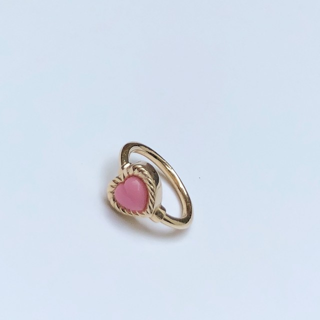 VINTAGE HEART CHARMのsnap RING body jewelry Pink K10YG #0004 ヴィンテージハートリングボディピアス・ピンク/10金イエローゴールド