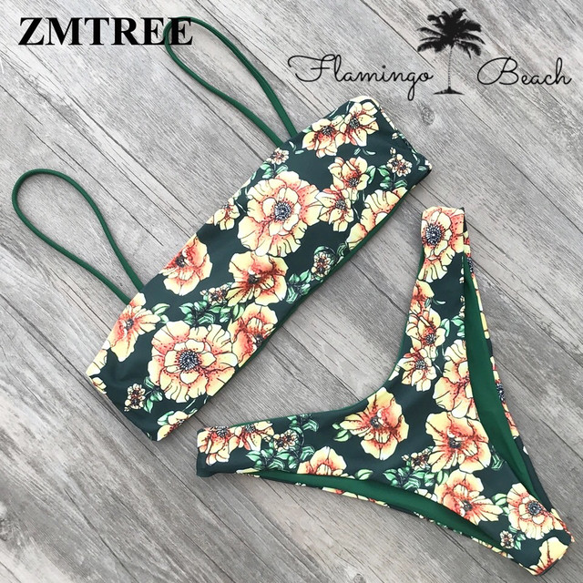 【FlamingoBeach】green flower bikini