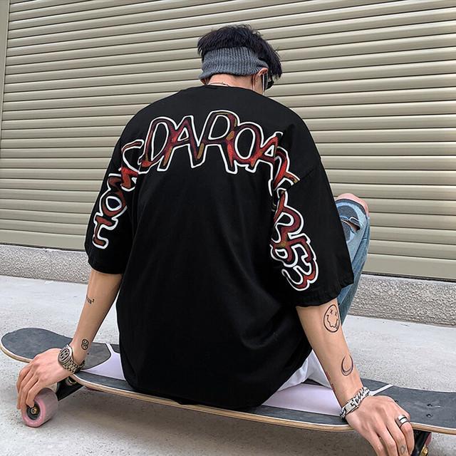 【トップス】オーバーサイズストリート系男女兼用アルファベットプリント半袖暗黒系Tシャツ43841498