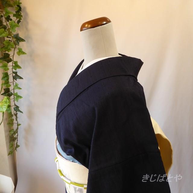 正絹紬 白銅色の小紋 単衣
