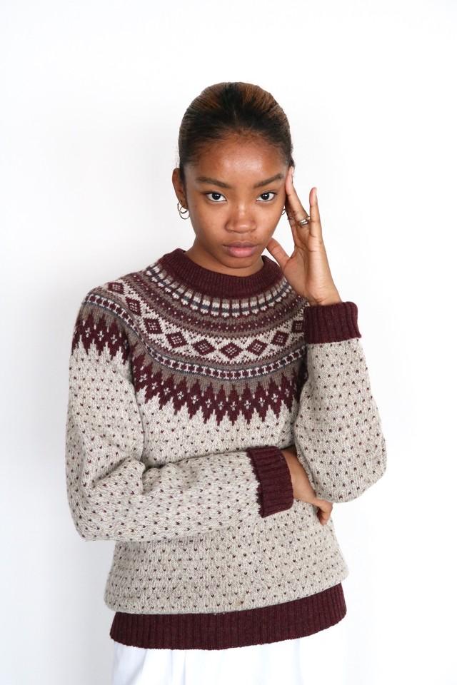 Vintage maroon nordic sweater
