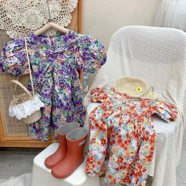 【人気!】花柄ワンピース コットンドレス 2021SS 春夏 韓国子供服