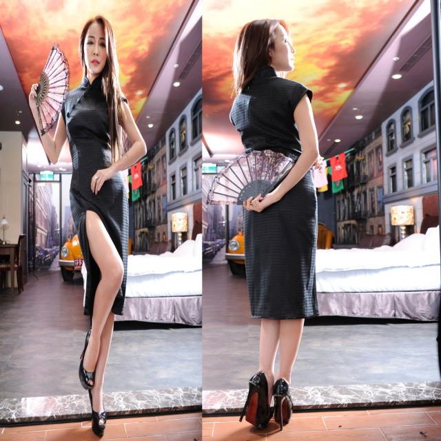 黒 女性用 チャイナドレス 真夜中の魅力 誘惑 ドレス セクシー ワンサイズ キレイめ 中国風 ファッション