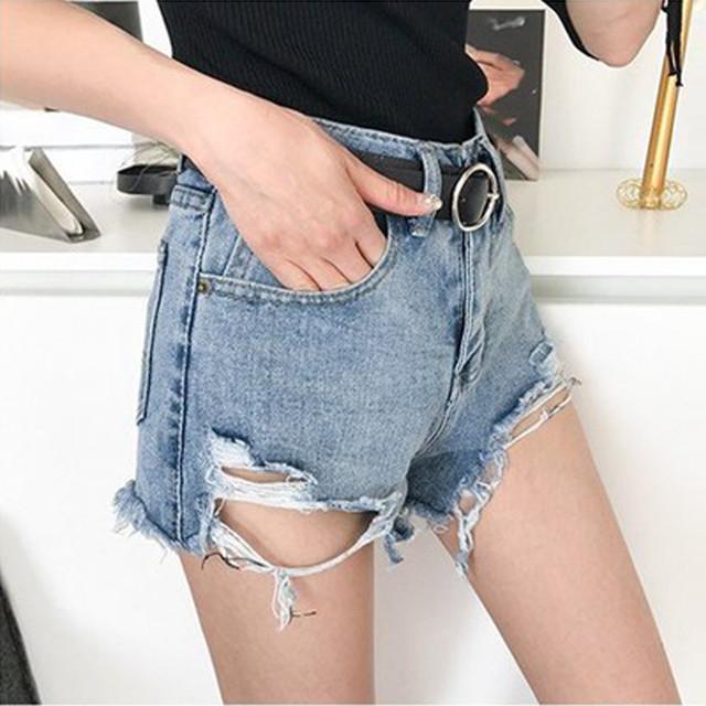 【ボトムス】ストリート系ファッション韓国系ダメージ加工無地ショートパンツ19522557