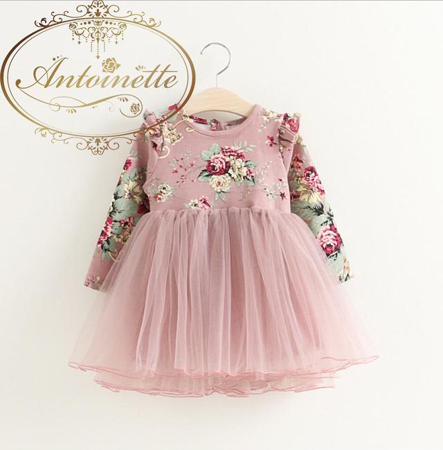 2色カラー uネック 花 柄 女の子 長袖 チュールスカート バレエ お稽古着 可愛い ピンク レッド 赤