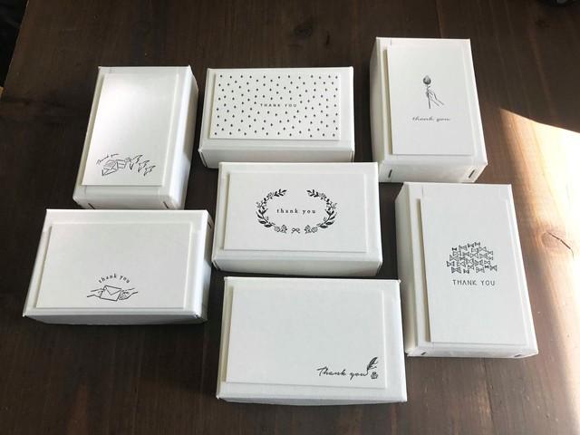 【活版印刷】Thank you card box ブラック(カード7種アソート30枚入り)※主にイベントで販売しております商品です。次回のカート追加は未定です。