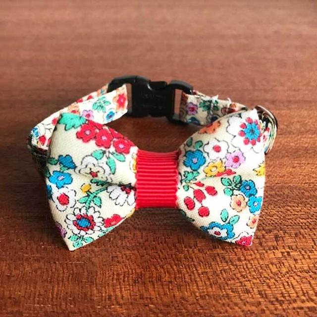 Cat ribbon collar 猫の首輪 リボン首輪 北欧カラフルフラワー レッドグログランリボン 【送料無料】
