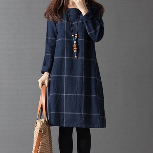 レディース レトロ チェック柄長袖フレアワンピース / Retro style long skirt loose bottoming skirt plaid long sleeve cotton and linen dress (DCT-538811224418)