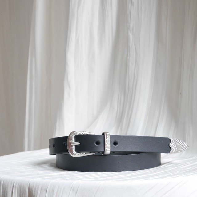 LEATER BELT 20 /BLACK×SILVER BUCKLE