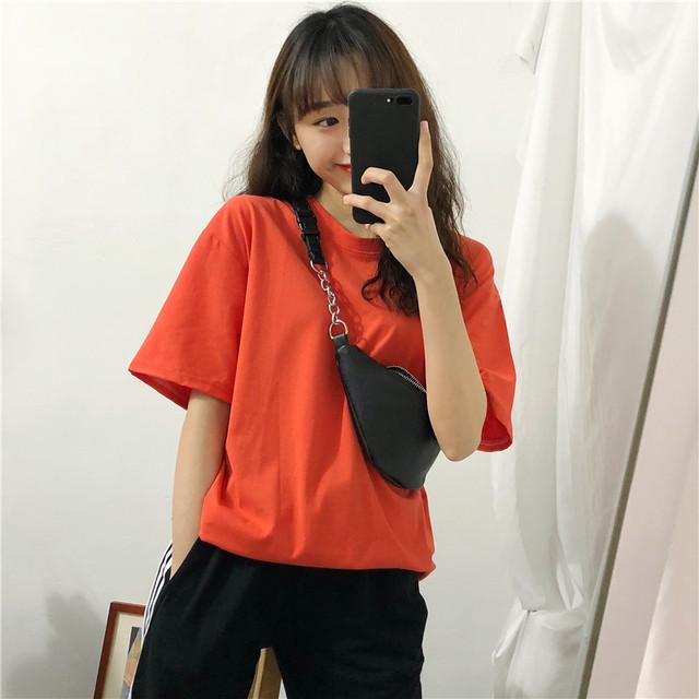 【tops】ラウンドネック半袖カジュアル切り替え合わせやすいTシャツ