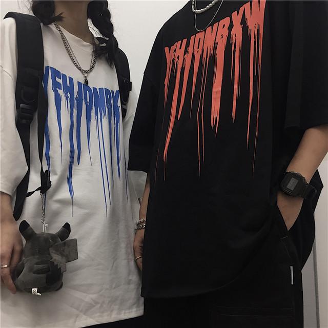 ユニセックス Tシャツ 半袖 メンズ レディース ラウンドネック 英字 スプラッシュインク プリント オーバーサイズ 大きいサイズ ルーズ ストリート TBN-612715984025