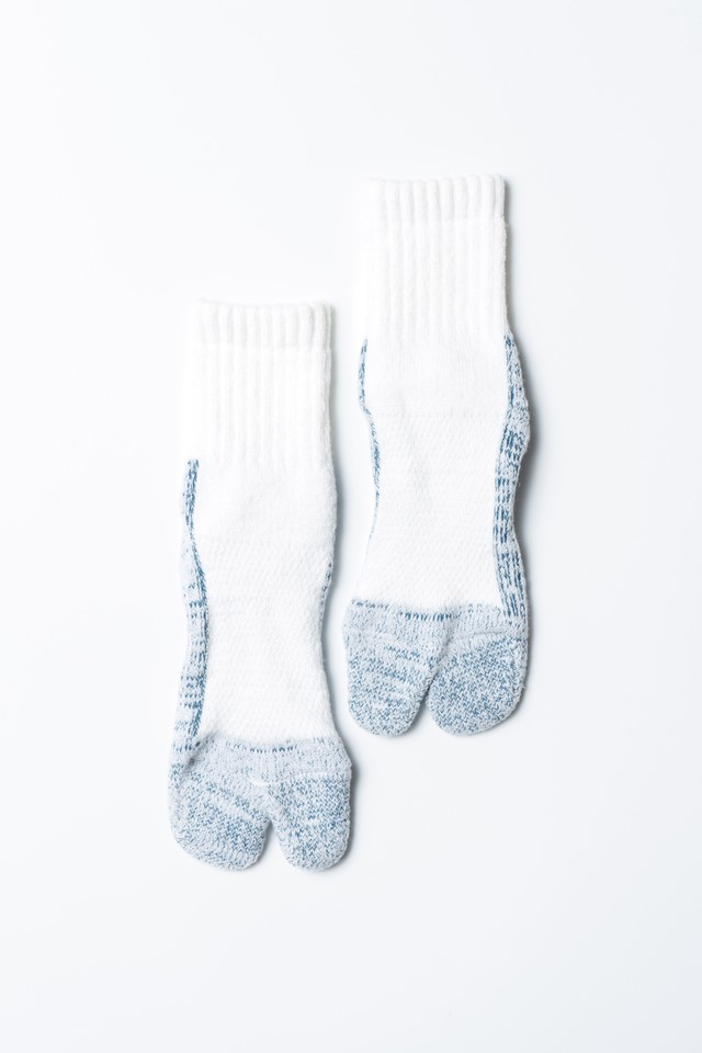 84N Wool Socks(White × Sky blue)