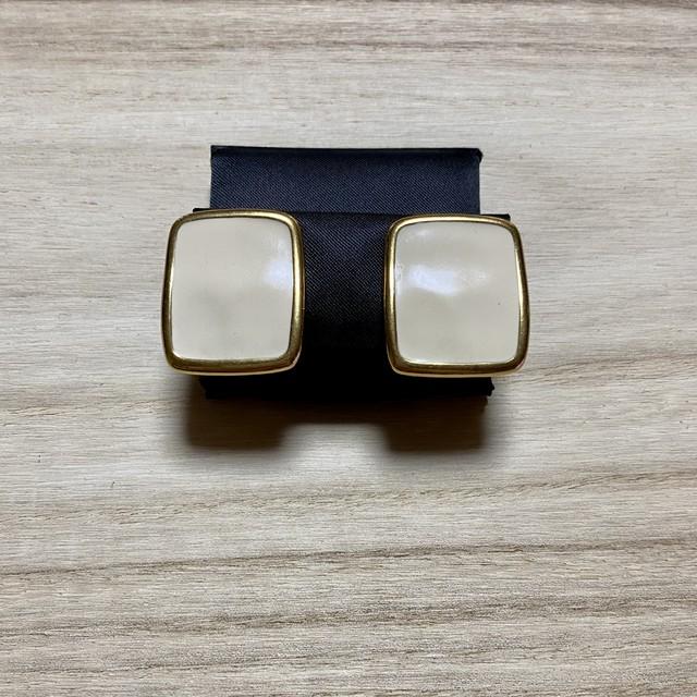 """90年代 """"Monet"""" モネ イヤリング クリームベージュ×ゴールド 四角形 アメリカ製 90's  Usa Used Earrings"""
