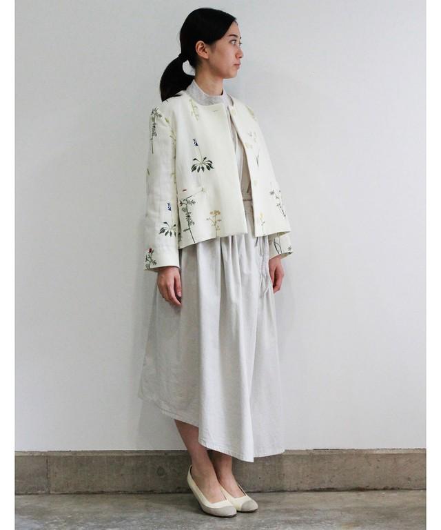 【予約商品】ボタニカル刺繍ジャケット  (evi506  WHT)