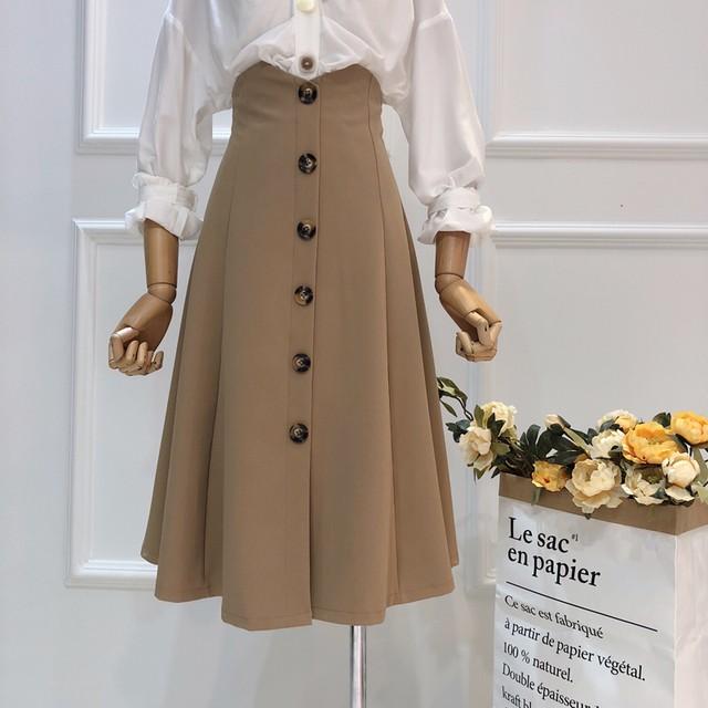 韓国ファッション ハイウェスト 膝丈スカート SHQ301801