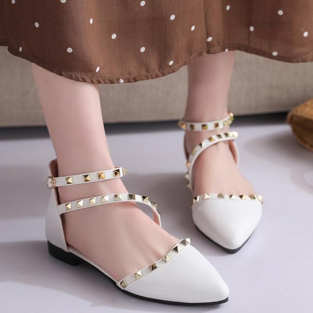 【shoes】フラットシューズリベット履き心地よいフラットヒール