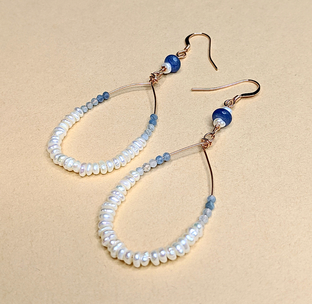 Pearl, Kyanite & Aquamarine earrings | MIHO meets RUKUS