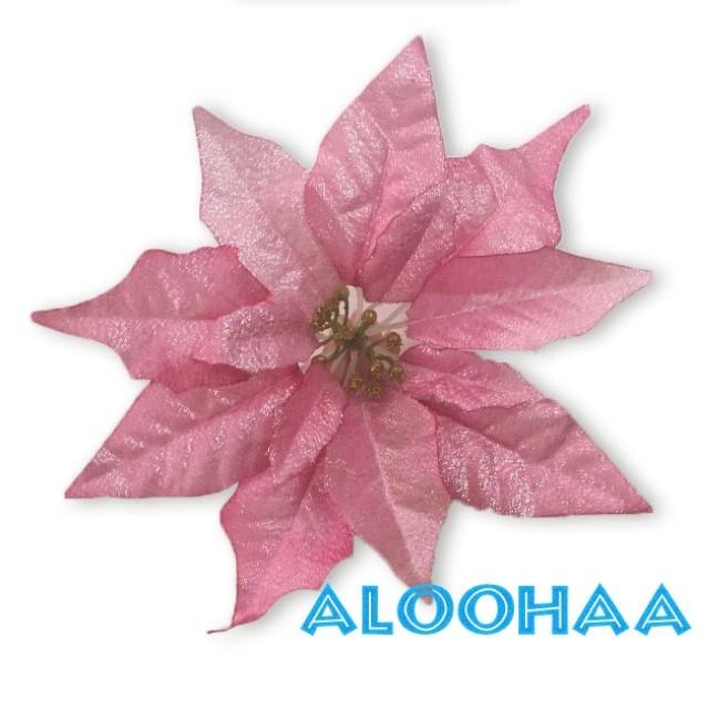 ポインセチア 25cm 造花 メタリックレッド フェイクフラワー