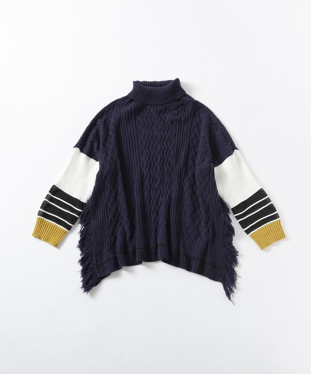 【TRICOTÉ】RIB SWEATER;ネイビー