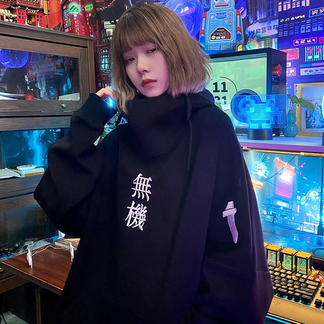 【蒸汽シリーズ】★パーカー★男女兼用 メンズ カップル服 トップス 黒い ブラック M L LL カジュアル シンプル