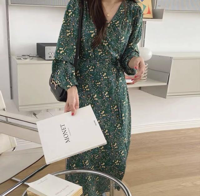 【韓国レディースファッション】 6246 花柄 プリント Vネック ロング ワンピース レディライク 送料無料
