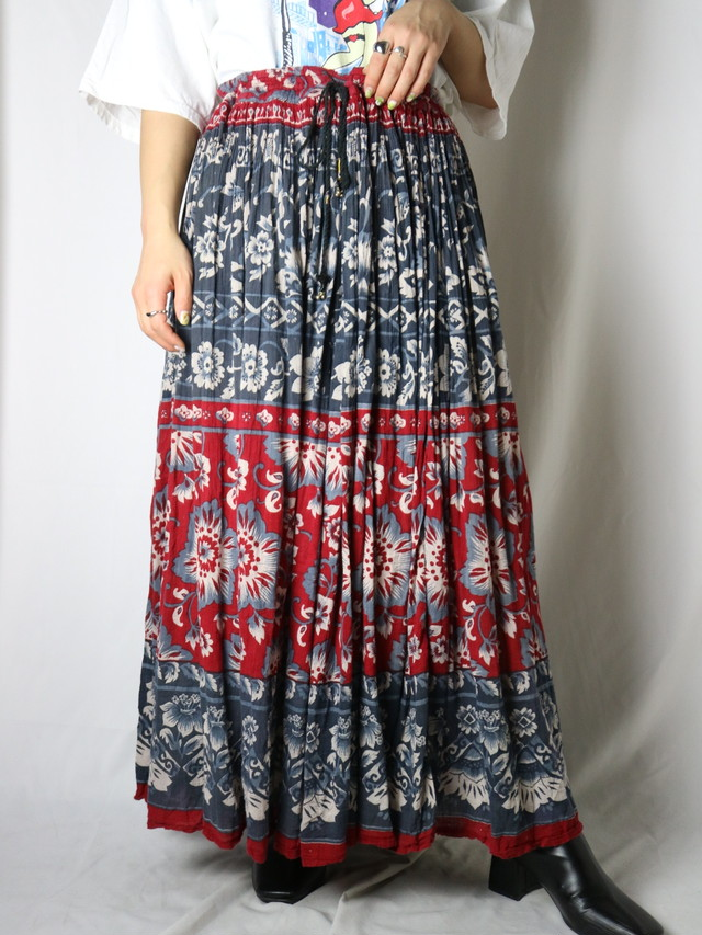 India cotton long gather skirt 【5548】