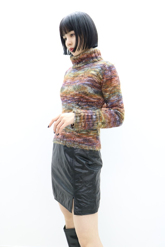 metallic turtle neck knit / TP11090012