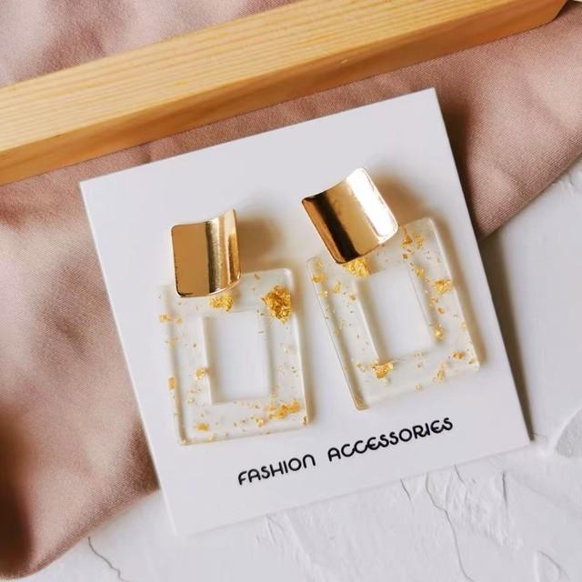 ゴールドプレートとクリアゴールドの異素材ピアス◆お取寄せ商品◆