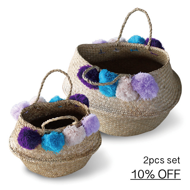 Seaglass Basket [ Wool Pom Pom] <<大小2個セット・10% OFF>>