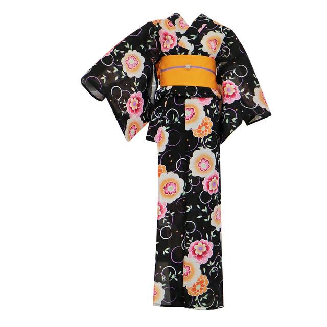 SALE【新品】浴衣+帯セット(黒地にオレンジ、帯:オレンジ)