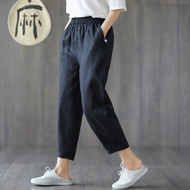 【ボトムス】無地カジュアル9分丈ファッションパンツ28405263