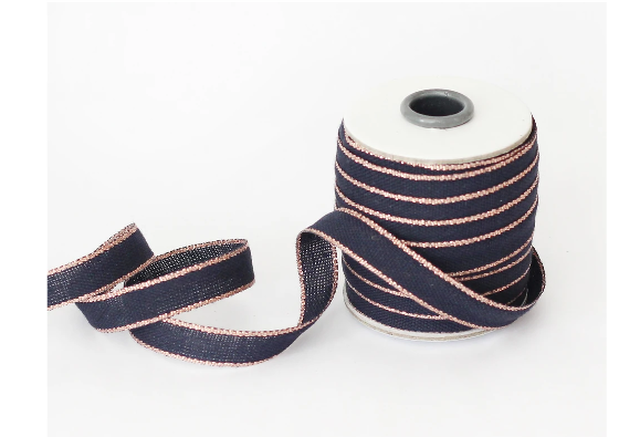 Drittofilo cotton ribbon | spool of 20 yards indigo/rose gold【Studio Carta】/コットンリボン  スタジオカルタ